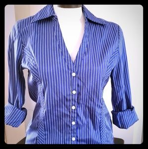🌹INC blue and white striped button down shirt